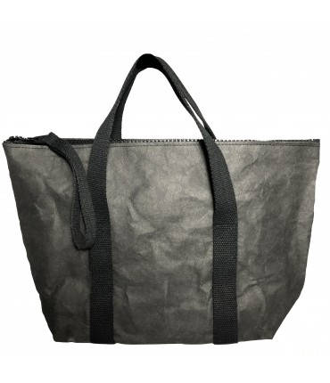 shopping bag ESSENT'IAL bag in washable paper fabric with double handle black color