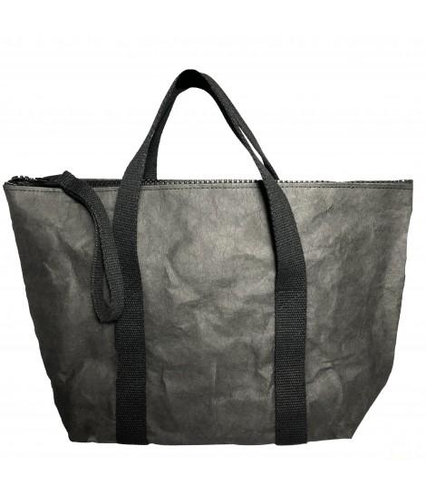 shopping bag ESSENT'IAL carta tessuto lavabile con doppio manico colore nero
