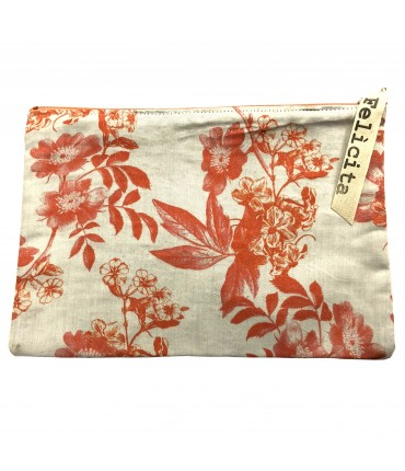 sachet SIGNORINA FELICITA in cream white vintage viscose with floral pattern