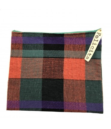 sachet SIGNORINA FELICITA in orange+green squares linen