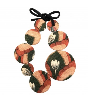 FLOW-ERS necklace in linen blend coral red+green floral pattern