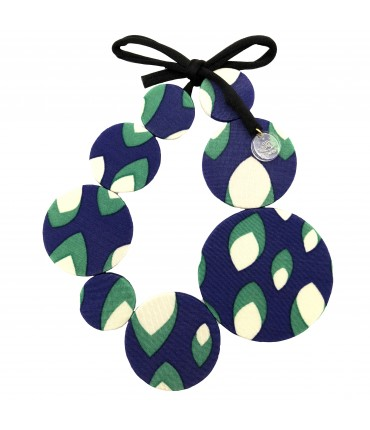 FLOW-ERS necklace bluette+water green optical pattern