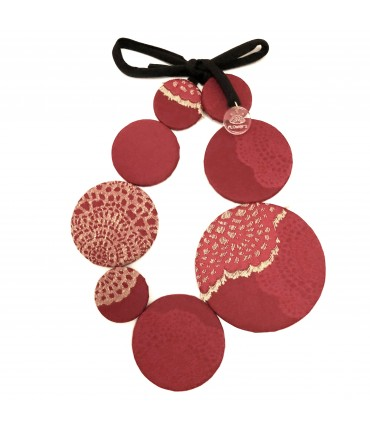 FLOW-ERS necklace with cherry red+ cream white pattern