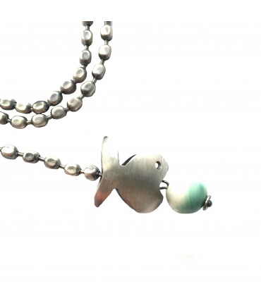 MAJO pewter necklace with fish pendant and amazonite stones
