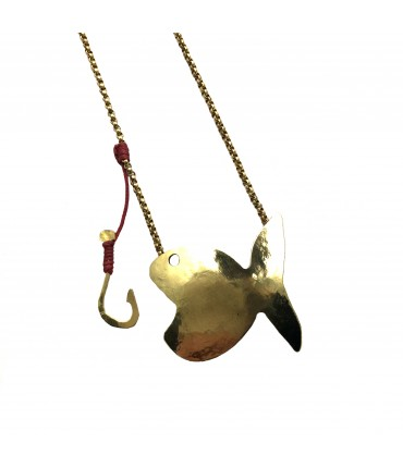 MAJO polished bronze necklace with fish+hook