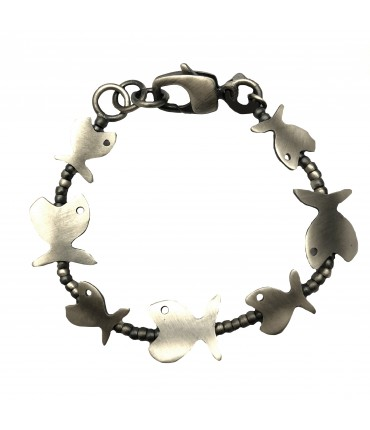 MAJO  bracelet with fish and nuggets in pewter