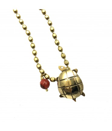 MAJO long necklace in polished bronze with turtle pendant and madrepora stone