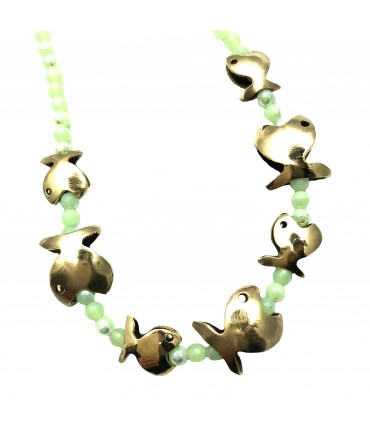 MAJO choker necklace with fish+water green crystals