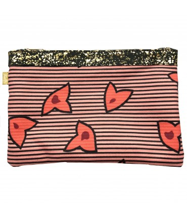 SUD clutch bag cotton fabric with strawberry pink striped wax fantasy