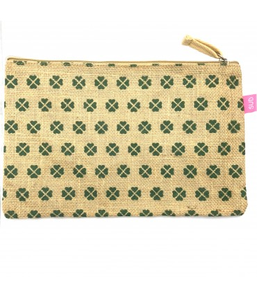 natural color jute clutch bag SUD with all-over four leaf-clovers