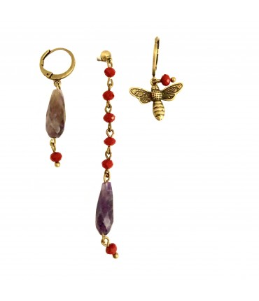 trio earrings BARBARA MOGNI mixable with crystals and tourmalines in red and purple
