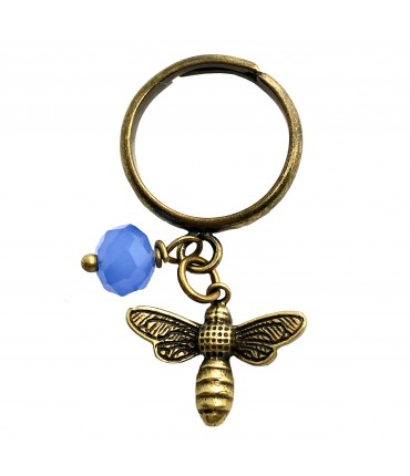 ring BARBARA MOGNI burnished brass with dragonfly pendant and blue tourmaline