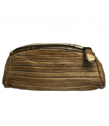 MAJO purse with zip in honey-colored leather