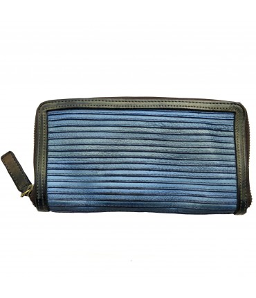 MAJO wallet in raw blue calfskin leather