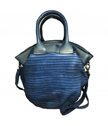 MAJO handbag in calfskin leather with double handle and shoulder strap in raw blue color