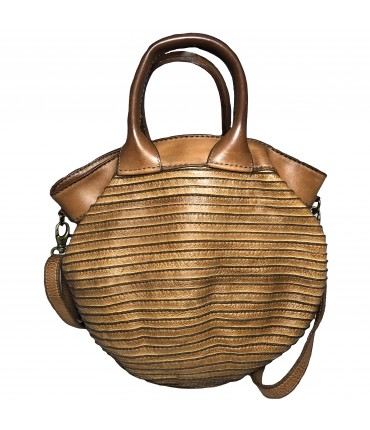 MAJO handbag in leather with double handle and honey color shoulder strap