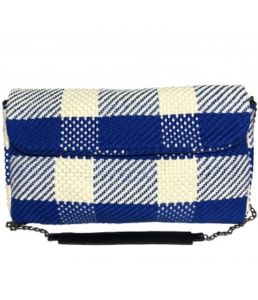 bag with shoulder strap MARIA LA ROSA hand-woven maxi squares bluette+white