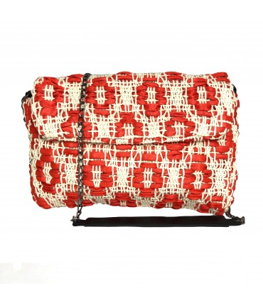 hand-woven bag MARIA LA ROSA geranium red+cream white with shoulder strap