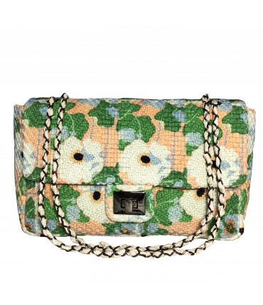 shoulder bag MARIA LA ROSA hand-woven fabric flower print with double handle