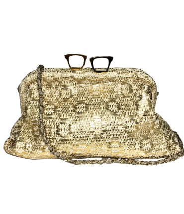 MARIA LA ROSA clutch bag hand woven in gold laminated cotton with shoulder strap and glasses closure