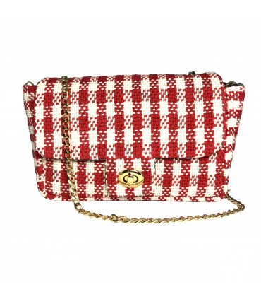 shoulder bag MARIA LA ROSA hand-woven cotton with red and cream vichy check pattern