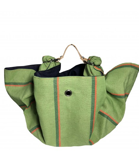 borsa LESARDINE.COM verde con righe arancio ed interno in denim blu scuro