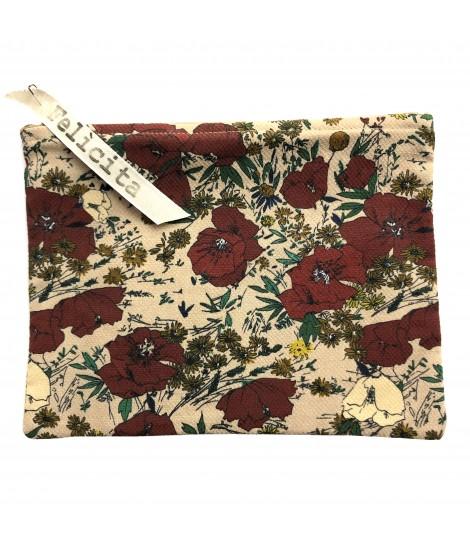 bustina-pochette SIGNORINA FELICITA in viscosa stampa papaveri su fondo rosa antico