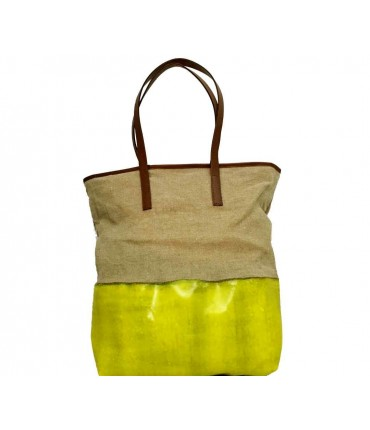 Shopping bag exquisite j lino+ silicone unito washed giallo