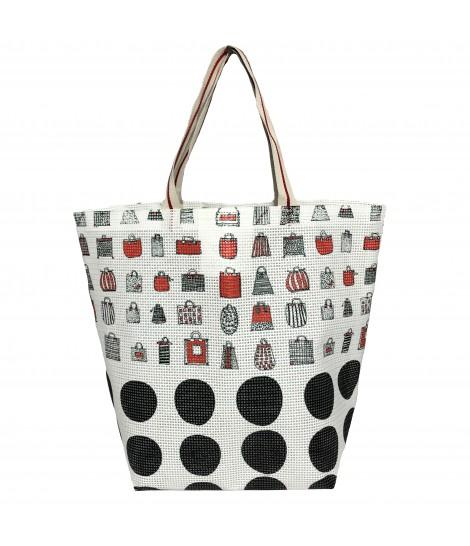 shopping bag MADDALENA OLIVI  in rete stampa borsette e maxi bolli con manici in nastro rigato