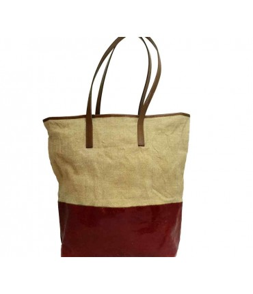 Shopping bag EXQUISITE J lino+ silicone unito washed rosso