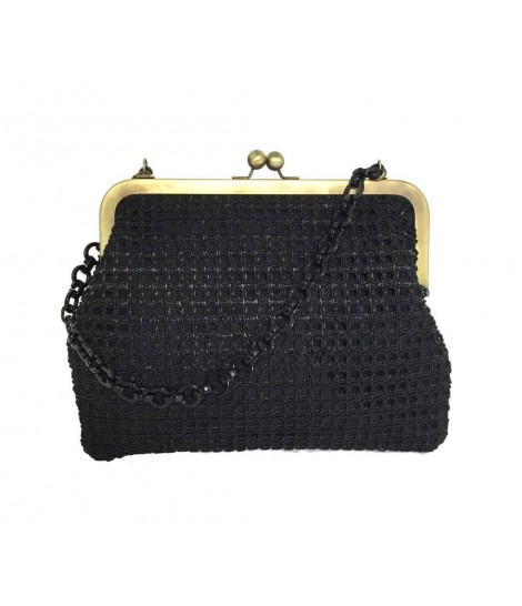 Exquisite j big shoulder bag, straw and black