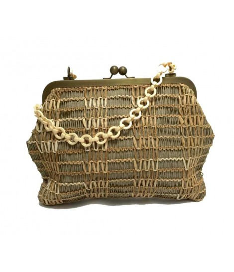 Exquisite j big shoulder bag straw/rope