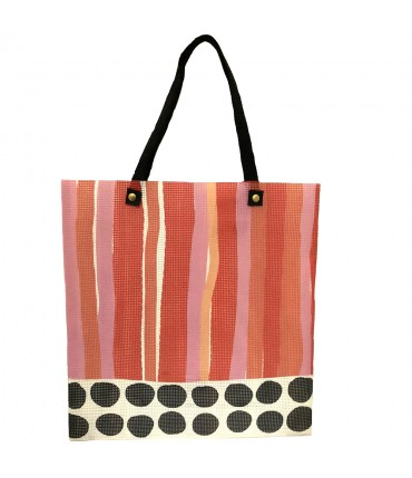 shopping bag MADDALENA OLIVI maxi stripes orange+pink
