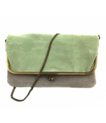Exquisite J shoulder bag in bicolored sage green/grey chamois