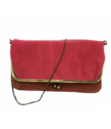 Exquisite J shoulder bag in bicolored strawberry/burnished chamois