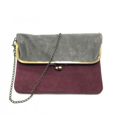 Exquisite J shoulder bag in bicolored mauve/grey chamois