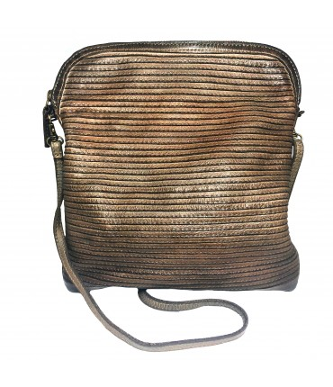 MAJO shoulder bag in bronze brown calfskin leather