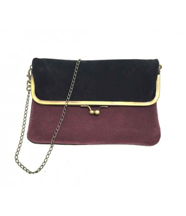 Exquisite J shoulder bag in bicolored mauve/black chamois