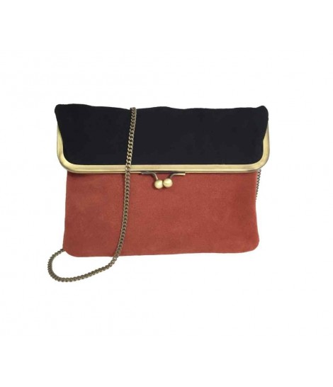 Exquisite j shoulder bag in bicolored black/orange chamois
