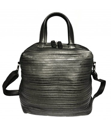 MAJO handbag with double handle in gray rhino calfskin leather with detachable shoulder strap
