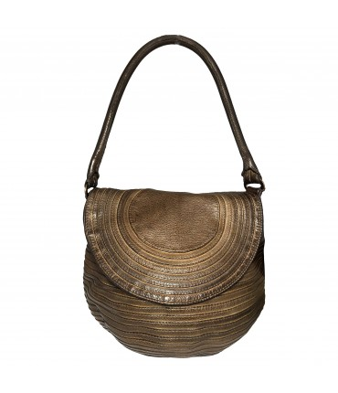 MAJO medium shoulder bag in bronze brown leather