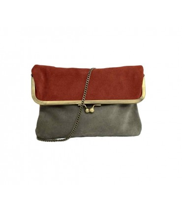 Exquisite j shoulder bag in bicolored grey/orange chamois