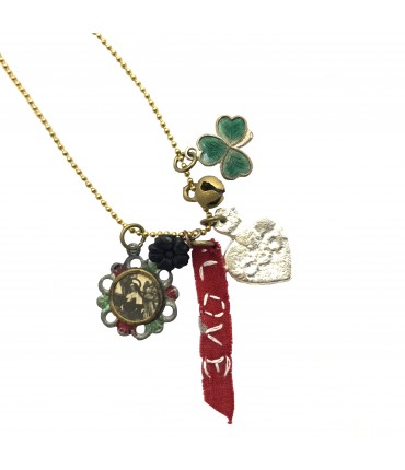 """PUELLA long necklace with mix of pendants an red ribbon hand embroidered  """"love"""""""
