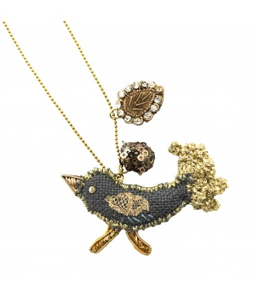 PUELLA long necklaces with hand-embroidered bird pendant, crystals and sequins