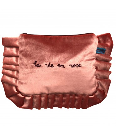 "VOLANTS VOLANT envelope clutch bag pink velvet hand embroidered ""la vie en rose"""