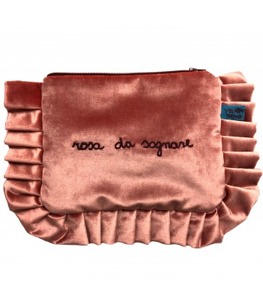 "VOLANTS VOLANT envelope clutch bag pink velvet hand embroidered ""rosa da sognare"""