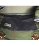 SUD shoulder bag in navy blue waxed linen, pocket on the front and leather