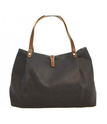 SUD shoulder bag in blue waxed linen and leather