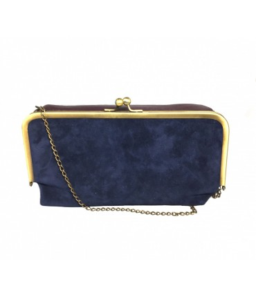 EXQUISITE J shoulder bag in leather and suede with snap closure