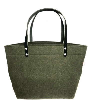 shopping bag SUD in lana verde militare con doppio manico in pelle nera